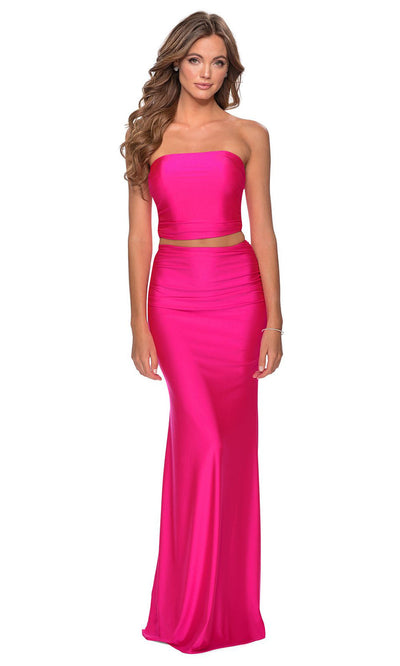 La Femme - 28972 Two-Piece Long Sheath Dress In Pink
