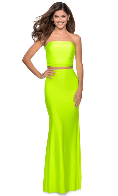 La Femme - 28972 Two-Piece Long Sheath Dress In Yellow