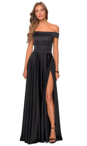 La Femme - 28978 Off-Shoulder High Slit A-Line Gown In Black