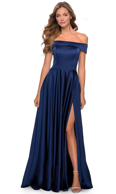 La Femme - 28978 Off-Shoulder High Slit A-Line Gown In Blue