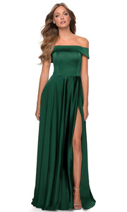 La Femme - 28978 Off-Shoulder High Slit A-Line Gown In Green