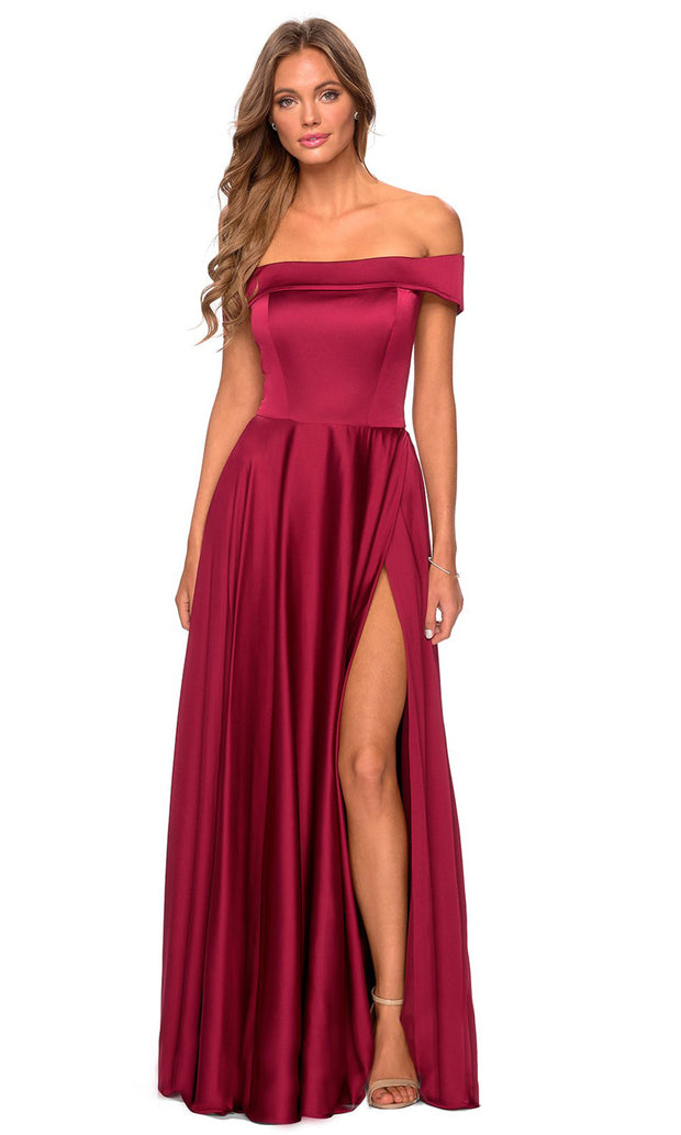 La Femme - 28978 Off-Shoulder High Slit A-Line Gown In Red