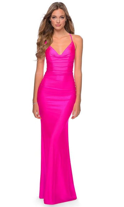 La Femme - 29010 Cowl Neck Neon Sheath Dress In Pink
