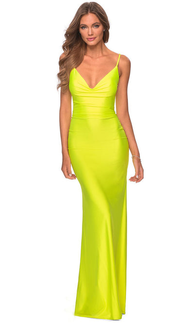 La Femme - 29010 Cowl Neck Neon Sheath Dress In Yellow