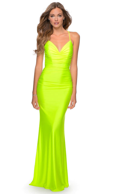 La Femme - 29020 Crisscross Back Neon Long Dress In Yellow