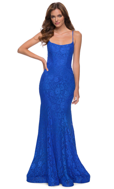 La Femme - 29611 Scoop Neck Strappy Open Back Floral Lace Gown In Blue