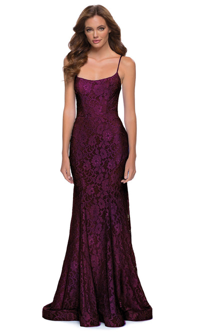 La Femme - 29611 Scoop Neck Strappy Open Back Floral Lace Gown In Red
