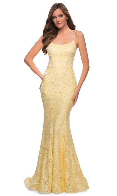 La Femme - 29611 Scoop Neck Strappy Open Back Floral Lace Gown In Yellow