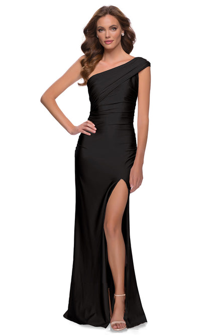 La Femme - 29619 One Shoulder Fitted Satin Jersey Gown In Black