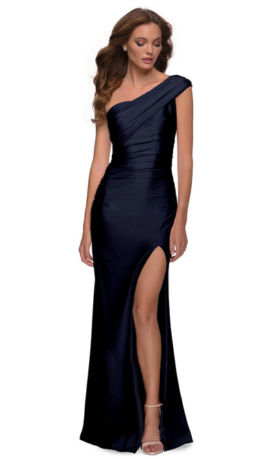 La Femme - 29619 One Shoulder Fitted Satin Jersey Gown In Blue