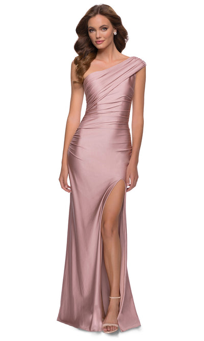 La Femme - 29619 One Shoulder Fitted Satin Jersey Gown In Mauve