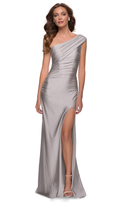 La Femme - 29619 One Shoulder Fitted Satin Jersey Gown In Silver & Gray