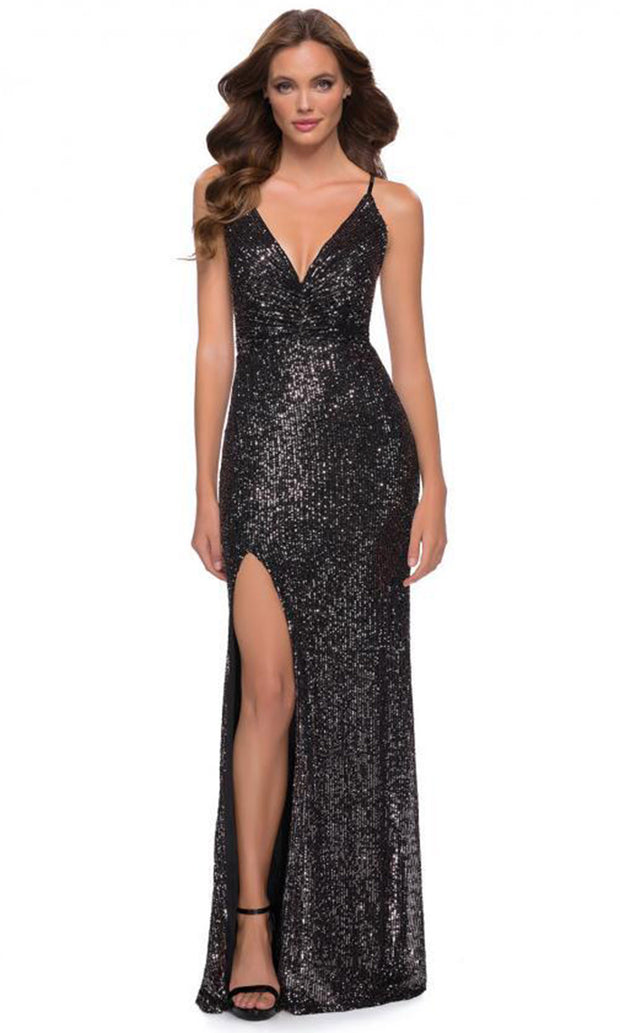 La Femme - 29731 Sleeveless Sequins Lace-Up Dress In Black