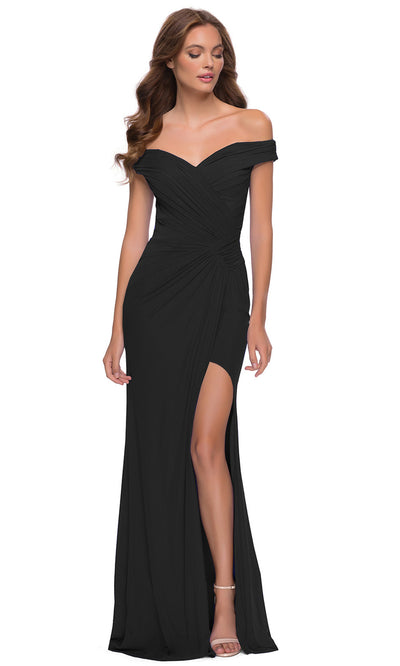 La Femme - 29756 Off Shoulder Draped High Slit Dress In Black