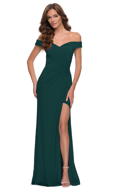La Femme - 29756 Off Shoulder Draped High Slit Dress In Green