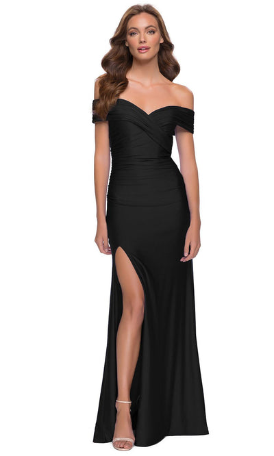 La Femme - 29781 Off Shoulder High Slit Jersey Dress In Black