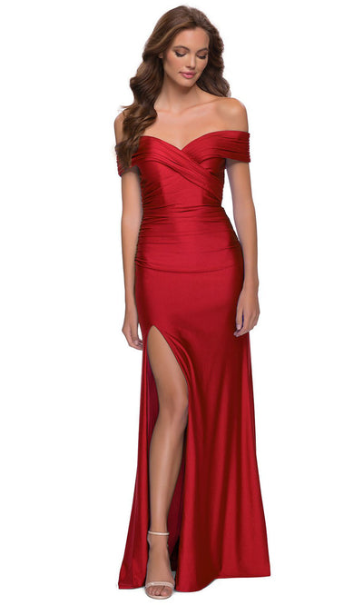 La Femme - 29781 Off Shoulder High Slit Jersey Dress In Red