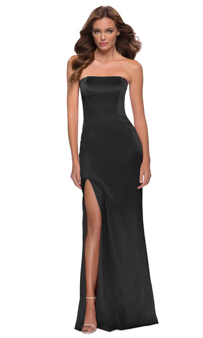 La Femme - 29807 Strapless High Slit Sheath Dress In Black
