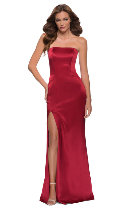 La Femme - 29807 Strapless High Slit Sheath Dress In Red