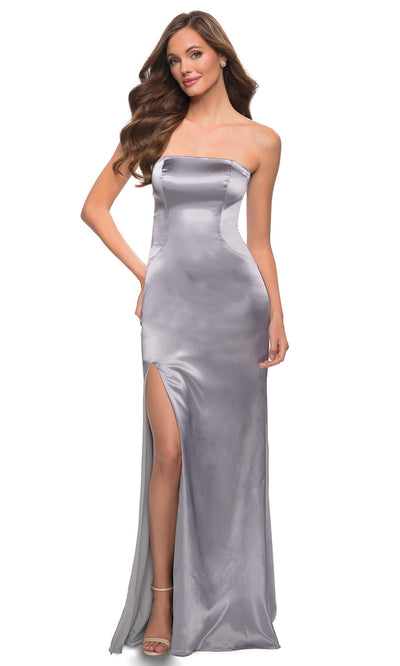 La Femme - 29807 Strapless High Slit Sheath Dress In Silver & Gray