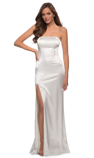 La Femme - 29807 Strapless High Slit Sheath Dress In White