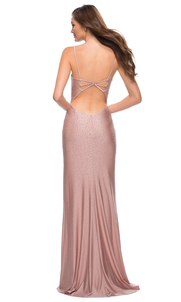 La Femme - 29899 Jewel Strewn High Slit Dress In Pink
