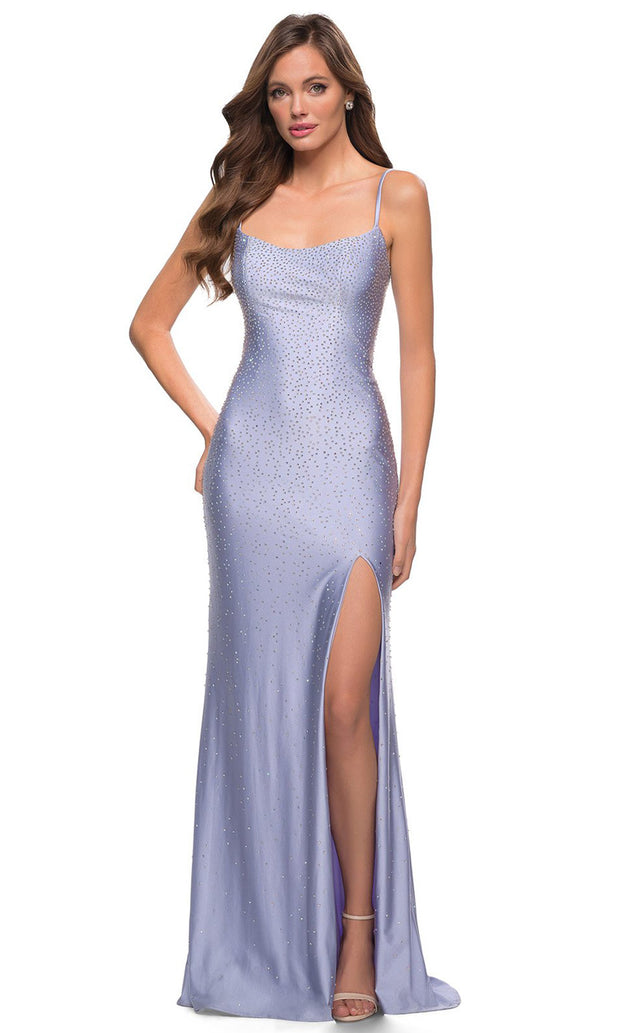 La Femme - 29899 Jewel Strewn High Slit Dress In Purple