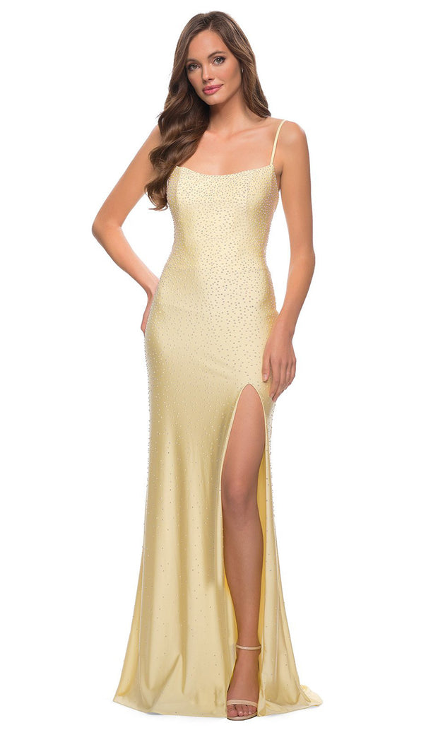La Femme - 29899 Jewel Strewn High Slit Dress In Yellow