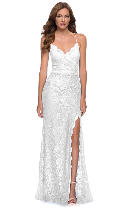 La Femme - 29939 Scalloped V-Neck Long Lace Dress In White & Ivory