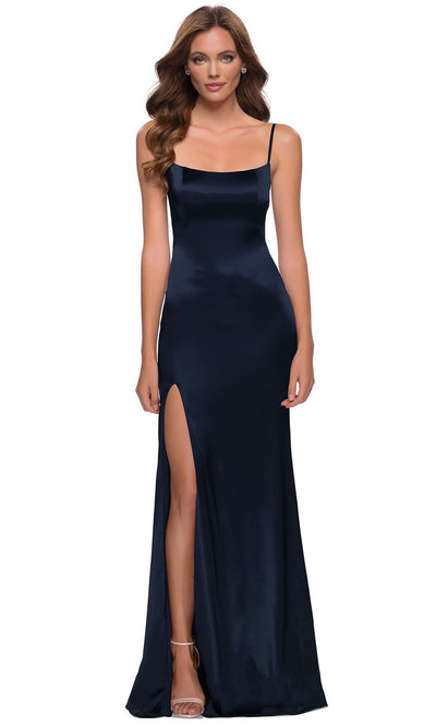 La Femme - 29945 Sleek Scoop Neck Long Dress In Blue