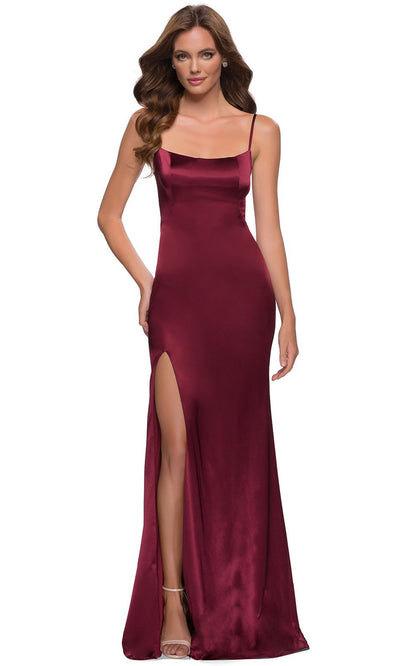 La Femme - 29945 Sleek Scoop Neck Long Dress In Burgundy