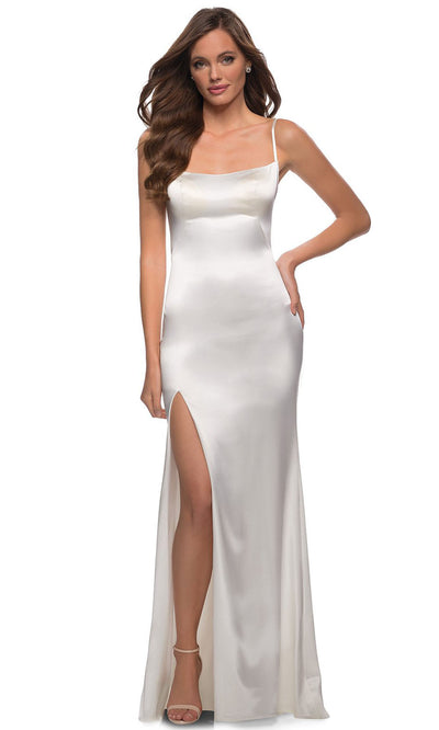 La Femme - 29945 Sleek Scoop Neck Long Dress In White & Ivory