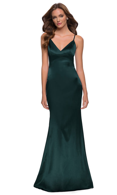La Femme - 29960 Sleeveless V-Neck Stretch Satin Sheath Gown In Green