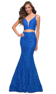 La Femme - 29970 Two Piece Laced Mermaid Gown In Blue