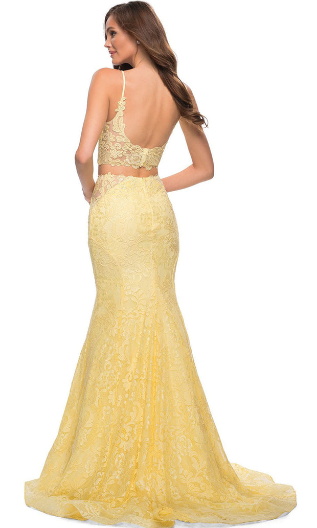 La Femme - 29970 Two Piece Laced Mermaid Gown In Yellow