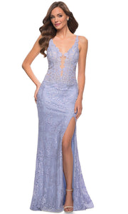 La Femme - 29977 Deep V-Neck High Slit Lace Long Dress In Blue