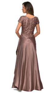 La Femme - 27033 Floral Ornate Satin Overlay Gown In Brown