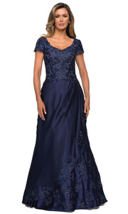 La Femme - 27033 Floral Ornate Satin Overlay Gown In Blue