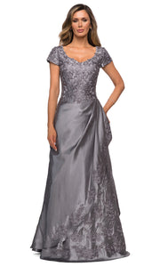 La Femme - 27033 Floral Ornate Satin Overlay Gown In Silver & Gray