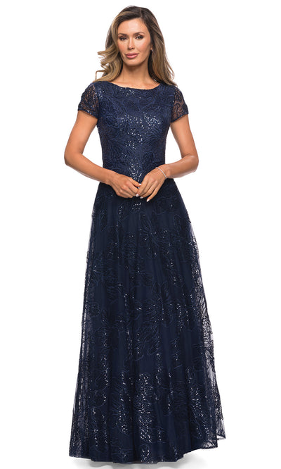 La Femme - 27837 Sequined Lace A-Line Gown In Blue