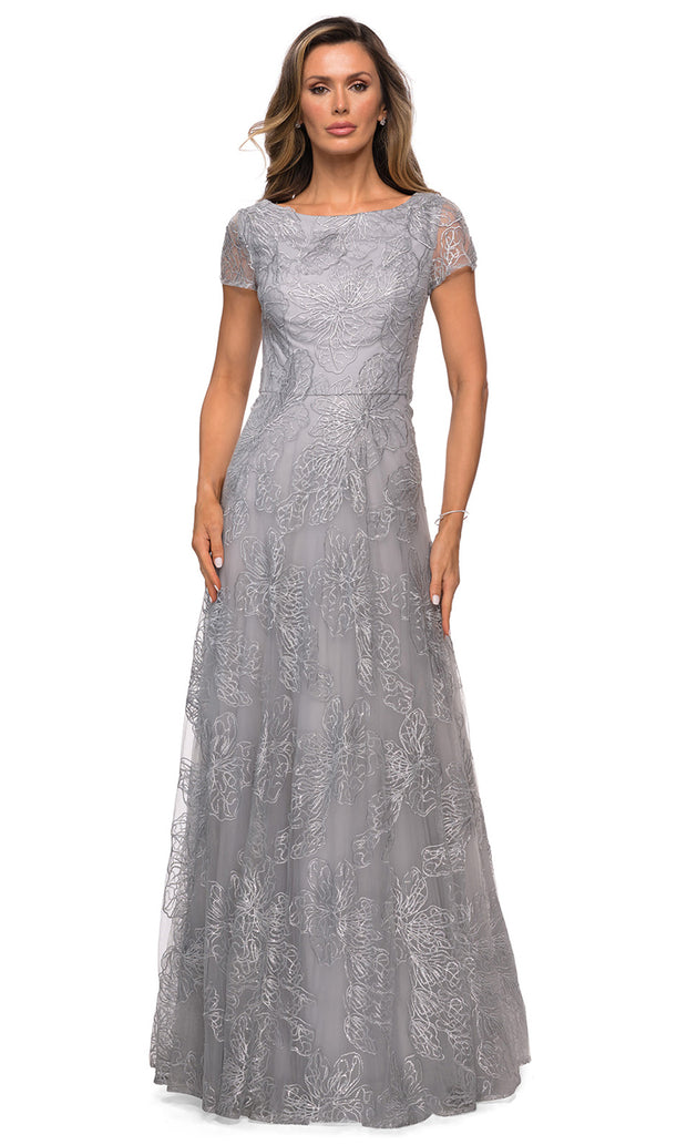 La Femme - 27837 Sequined Lace A-Line Gown In Silver