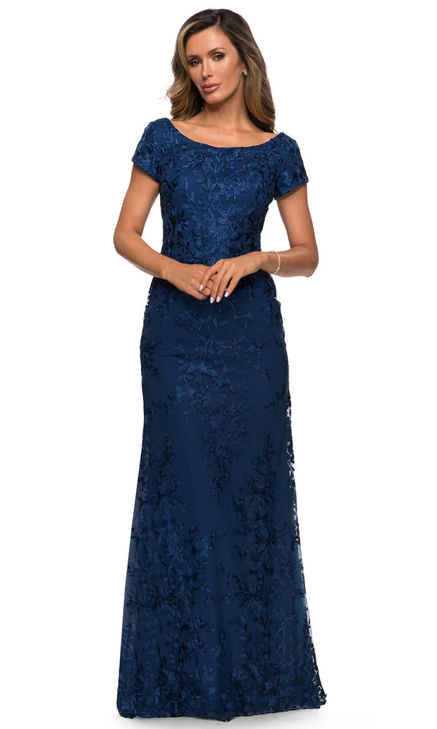 La Femme - 27842 Scoop Neck Lace Fitted Dress In Blue
