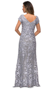 La Femme - 27842 Scoop Neck Lace Fitted Dress In Silver
