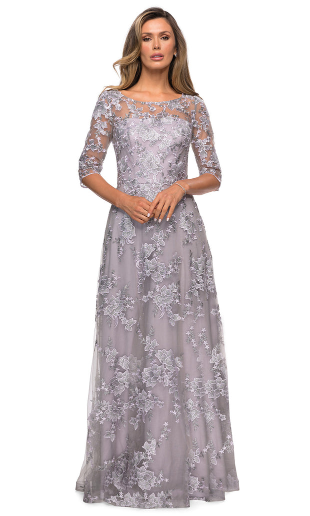La Femme - 27854 Quarter Sleeve Floral Lace A-Line Dress In Purple