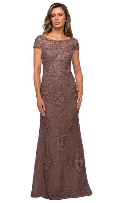 La Femme - 27856 Full Length Lace Fitted Dress In Brown