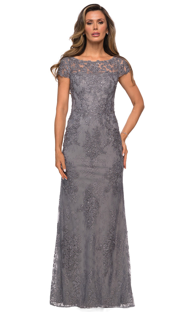 La Femme - 27856 Full Length Lace Fitted Dress In Silver