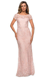 La Femme - 27856 Full Length Lace Fitted Dress In Pink