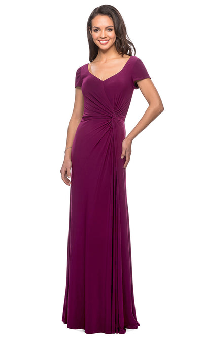 La Femme - 27872 Short Sleeve Side Knot Long Dress In Purple
