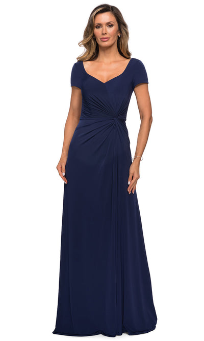 La Femme - 27872 Short Sleeve Side Knot Long Dress In Blue