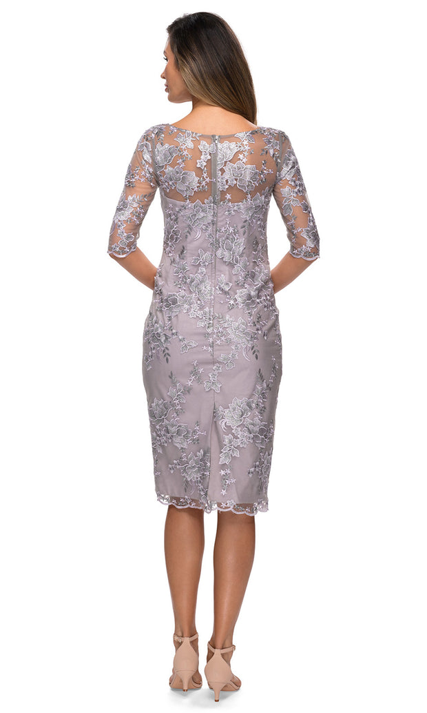 La Femme - 27895 Lace Applique Sheath Short Dress In Purple and Gray